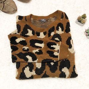 Animal print loose oversized sweater